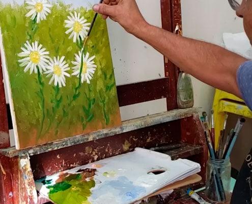 como-fazer-margaridas-curso-de-pintura-em-tela-professor-costerus